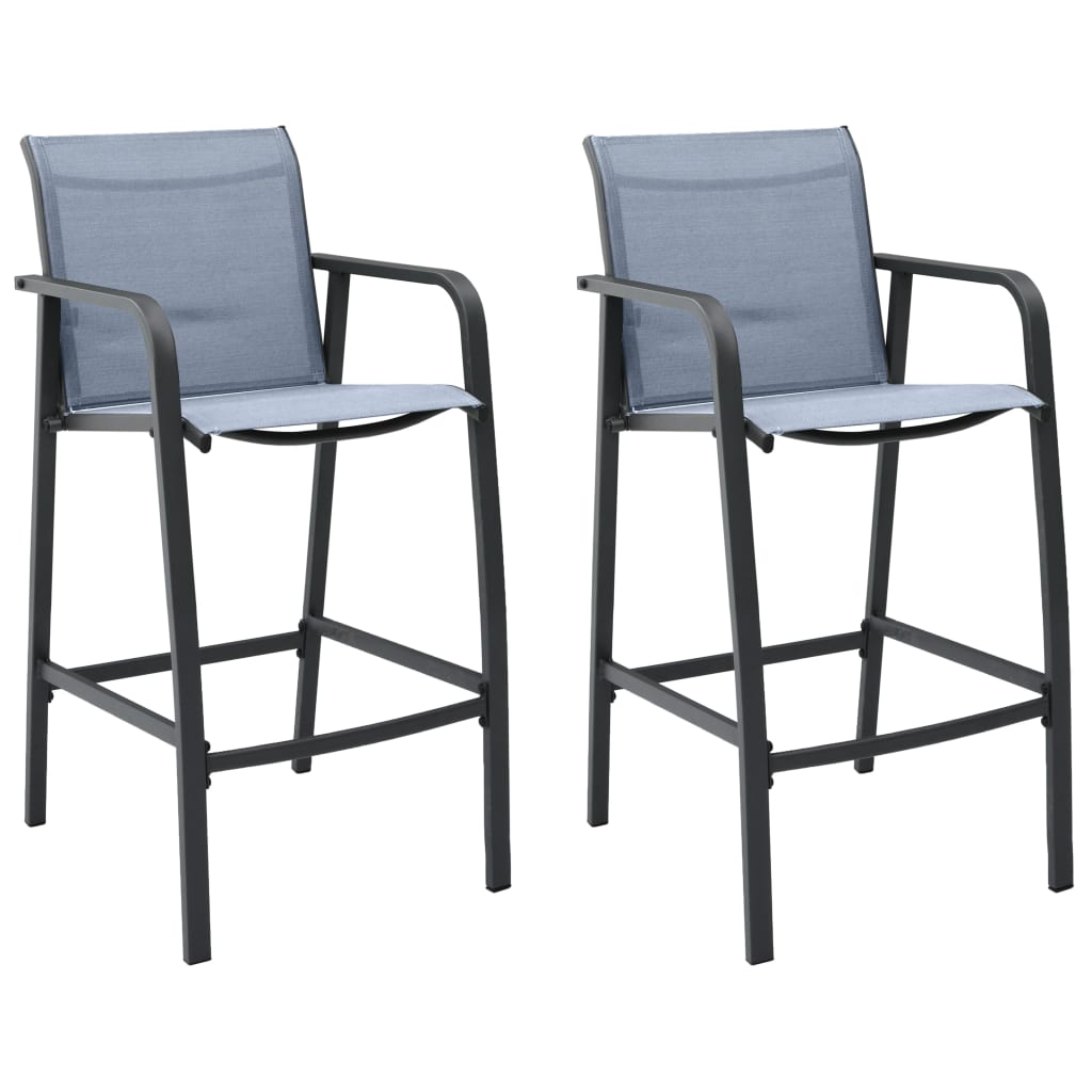 vidaXL Καρέκλες Μπαρ Κήπου 2 τεμ. Γκρι από Textilene