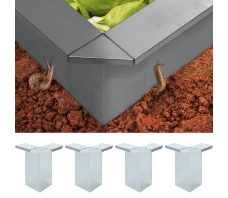 vidaXL Kontakter til sneglegjerde 4stk galvanisert stål 17,5x17,5x25cm