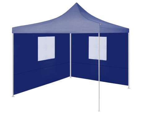 vidaXL Partytent met 2 zijwanden inklapbaar 2x2 m staal blauw