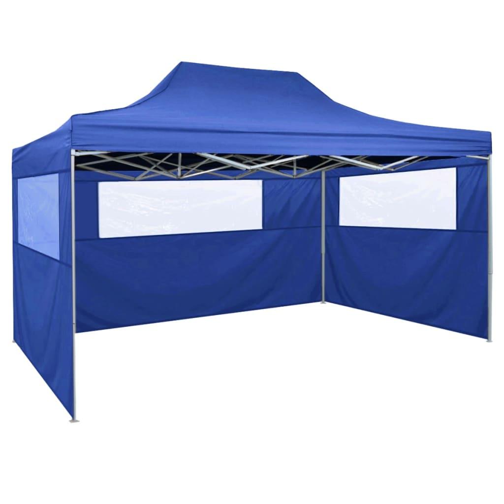 vidaXL Cort de petrecere pliabil cu 3 pereți, albastru, 3 x 4 m, oțel imagine vidaxl.ro