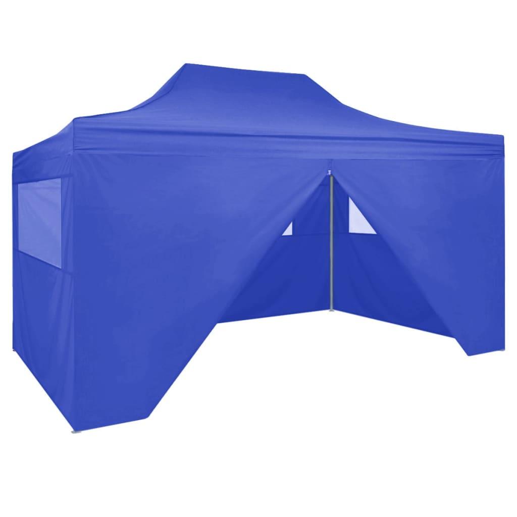 vidaXL Cort de petrecere pliabil cu 4 pereți, albastru, 3 x 4 m, oțel