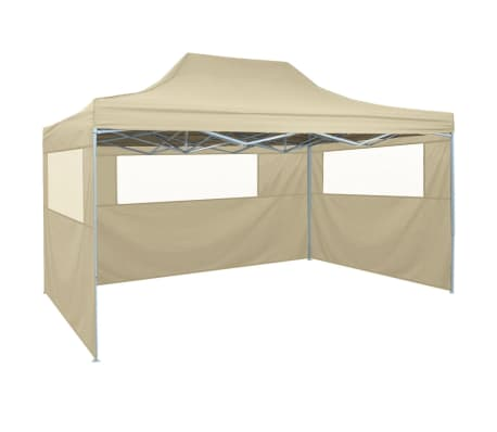 "vidaXL Professional Folding Party Tent with 3 Sidewalls 118.1""x157.5"" Steel Cream"