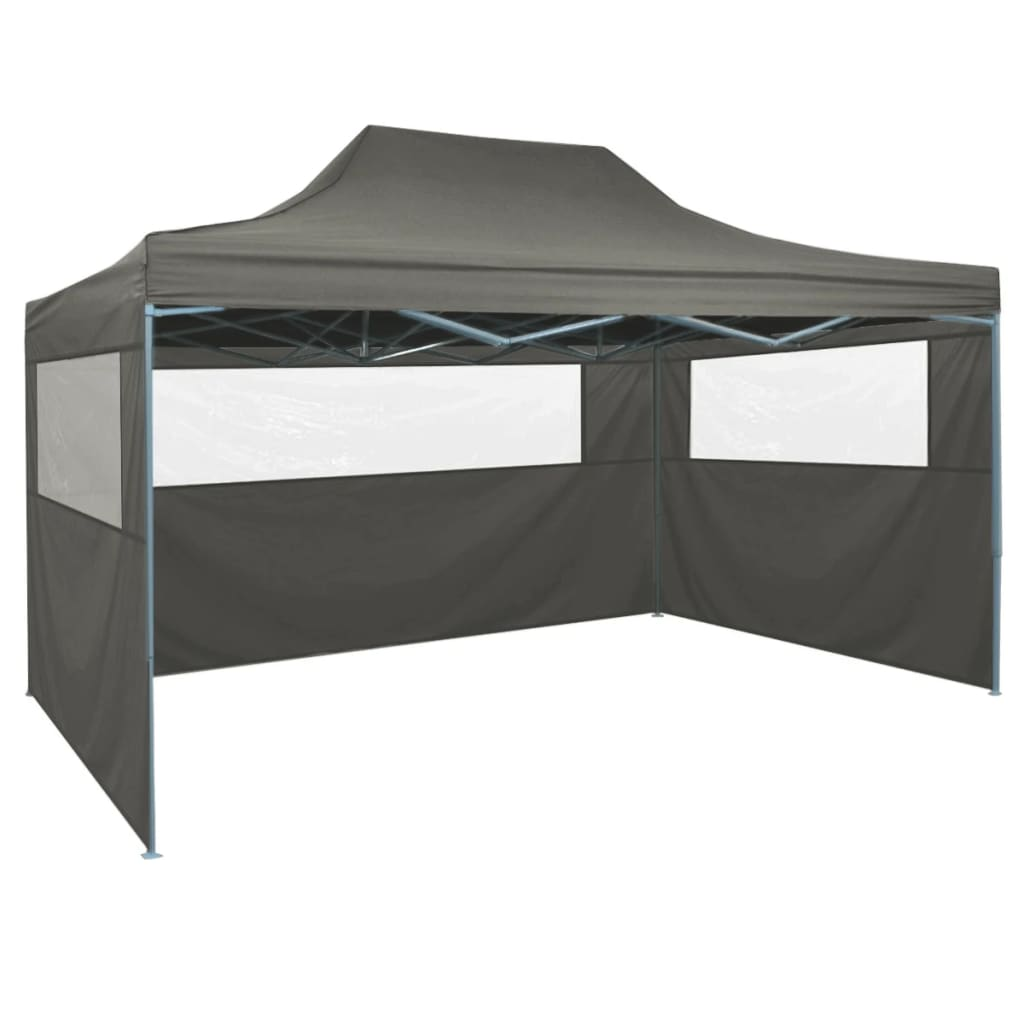 vidaXL Professional Folding Party Tent with 3 Sidewalls 3×4 m Steel Anthracite