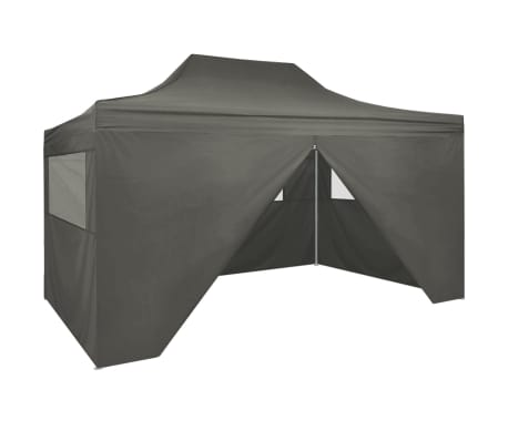 "vidaXL Professional Folding Party Tent with 4 Sidewalls 118.1""x157.5"" Steel Anthracite"