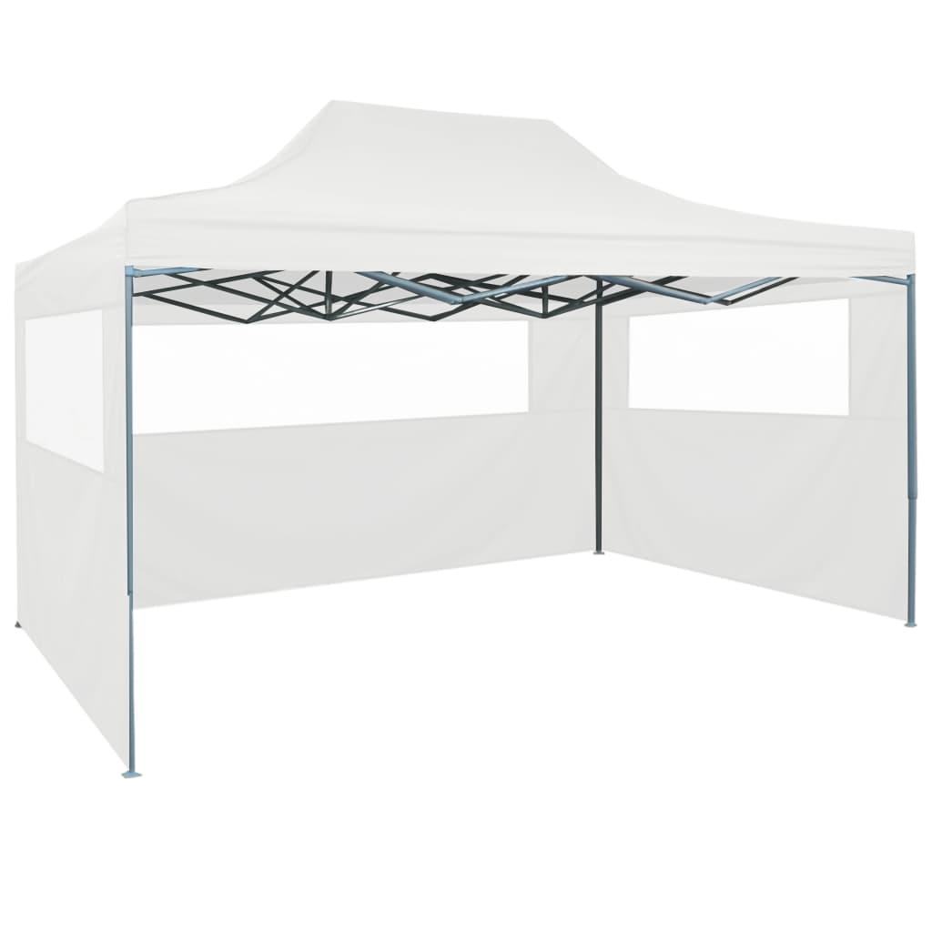 vidaXL Cort de petrecere pliabil cu 3 pereți laterali, alb, 3x4m, oțel poza vidaxl.ro