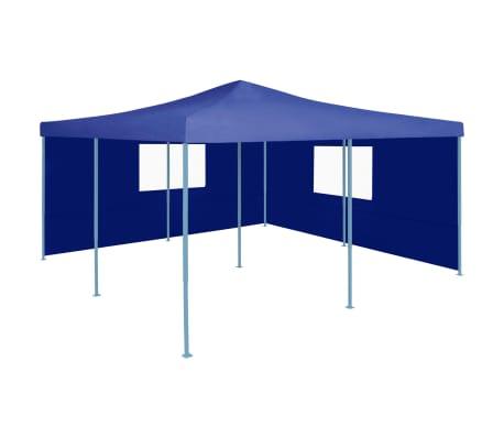 vidaXL Prieel inklapbaar met 2 zijwanden 5x5 m blauw