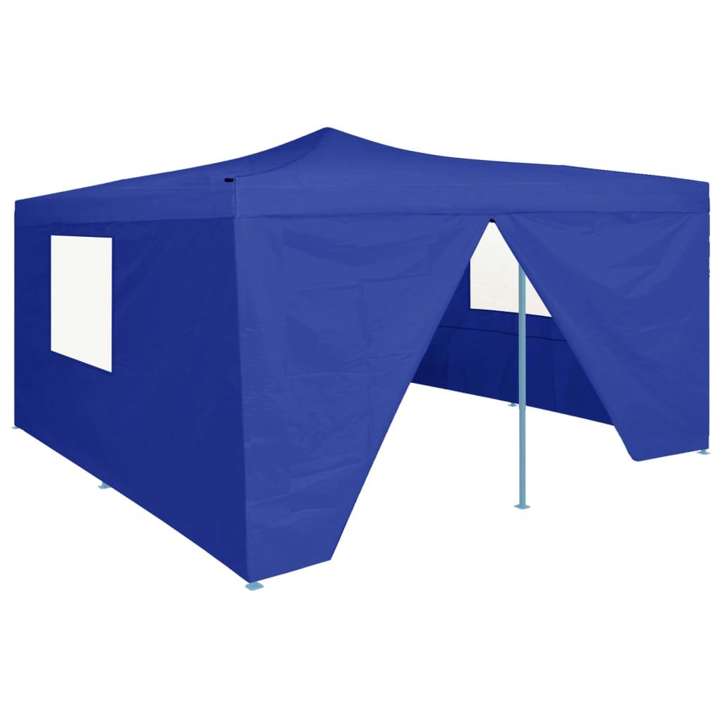 vidaXL Pavilion pliabil cu 4 pereți laterali, albastru, 5 x 5 m imagine vidaxl.ro