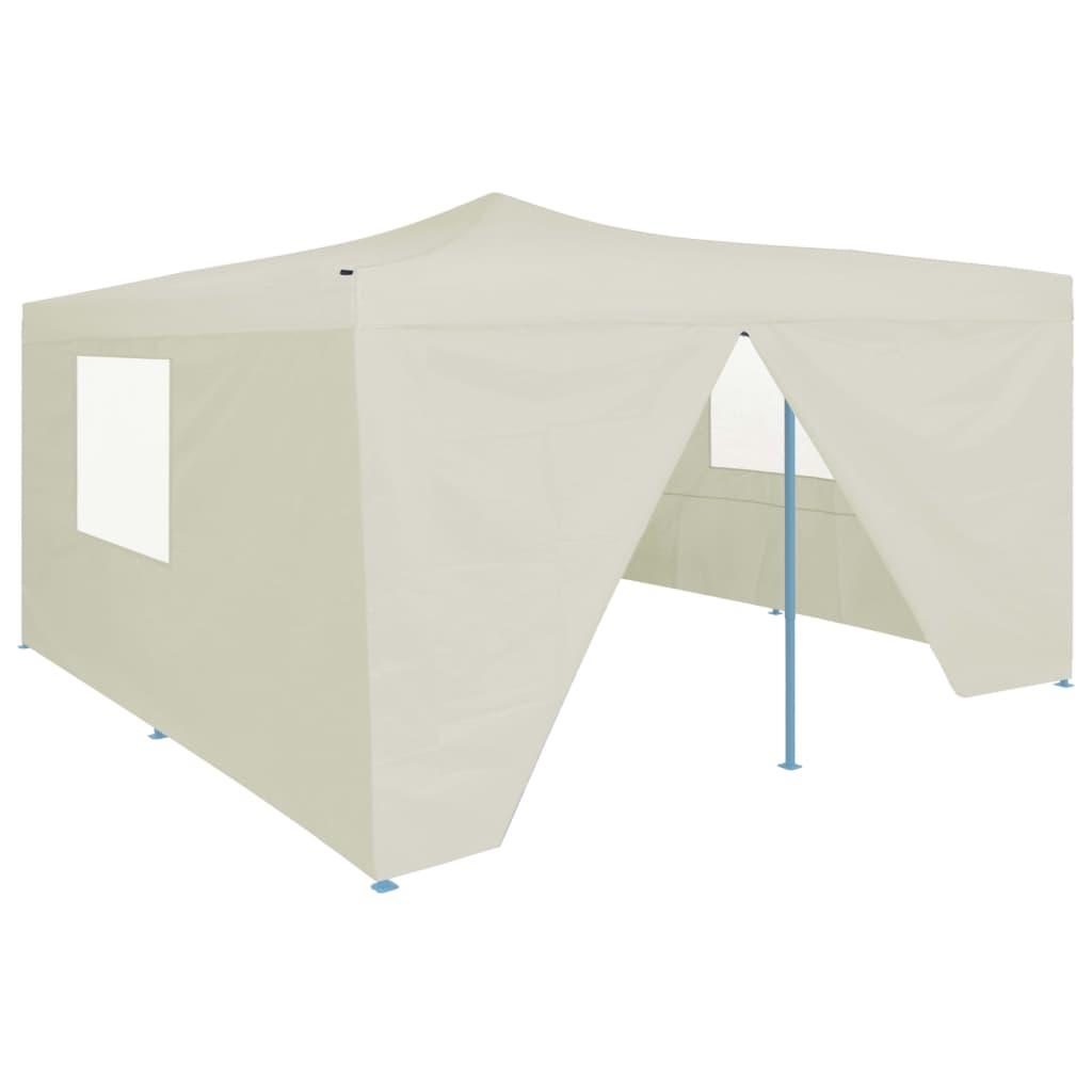 vidaXL Pavilion pliabil cu 4 pereți laterali, crem, 5 x 5 m vidaxl.ro