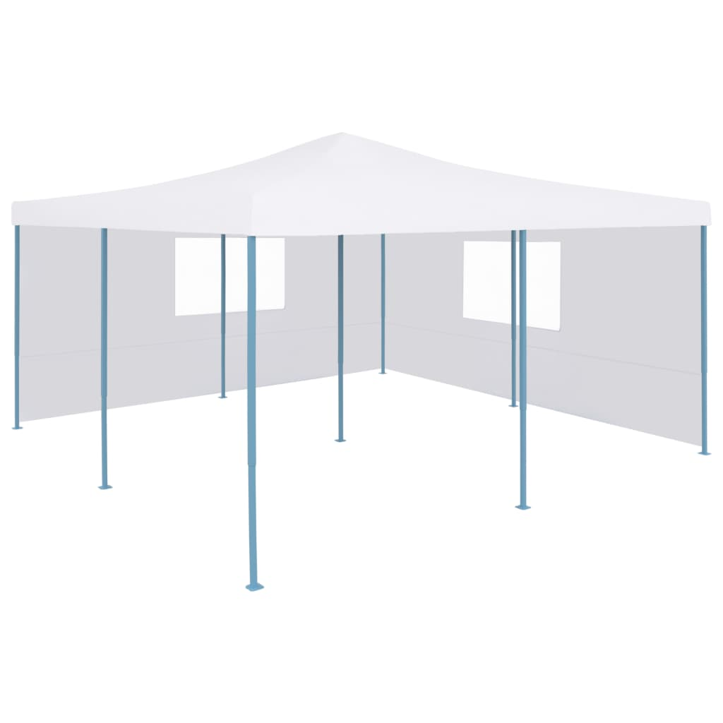 vidaXL Pavilion pliabil cu 2 pereți laterali, alb, 5 x 5 m poza 2021 vidaXL
