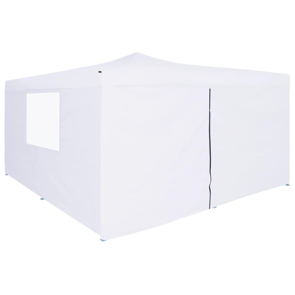 Prieel inklapbaar met 4 zijwanden 5x5 m wit