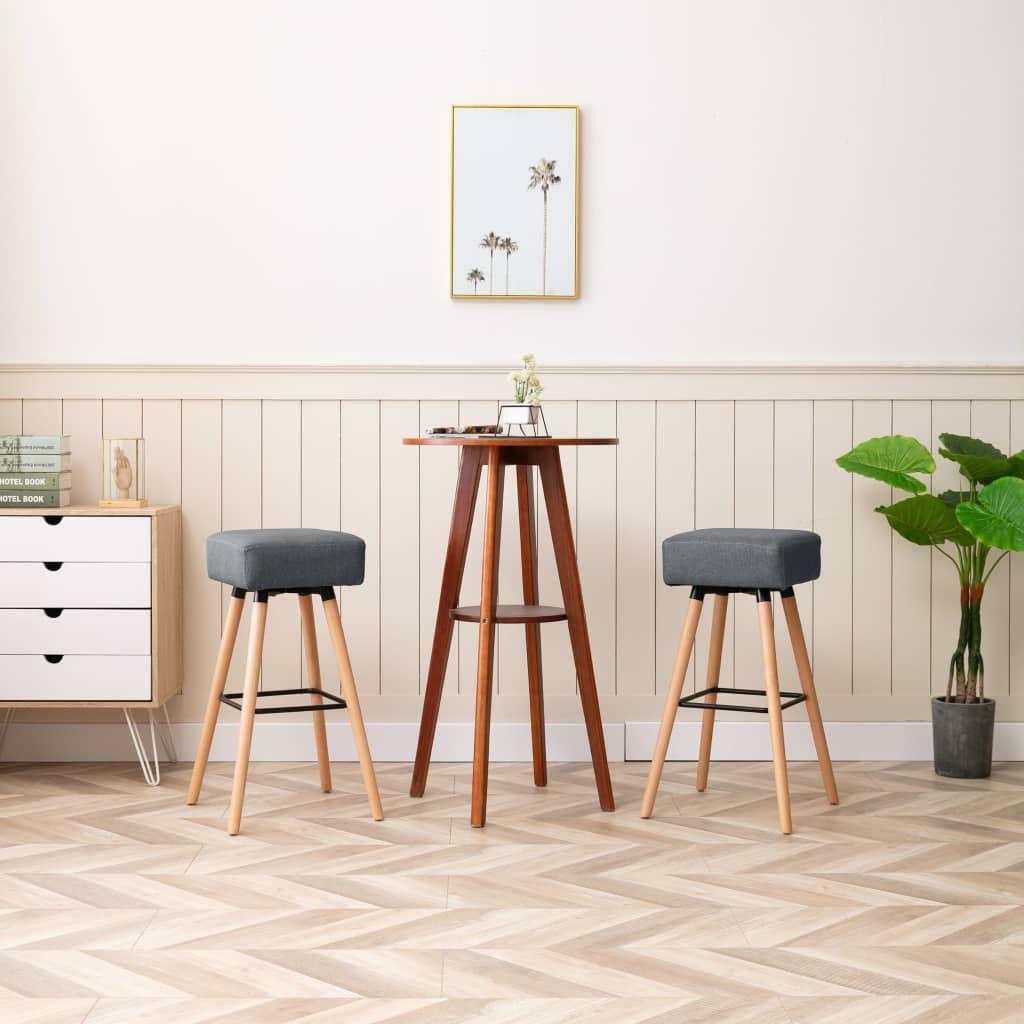 vidaXL barstole 2 stk. stof lysegrå