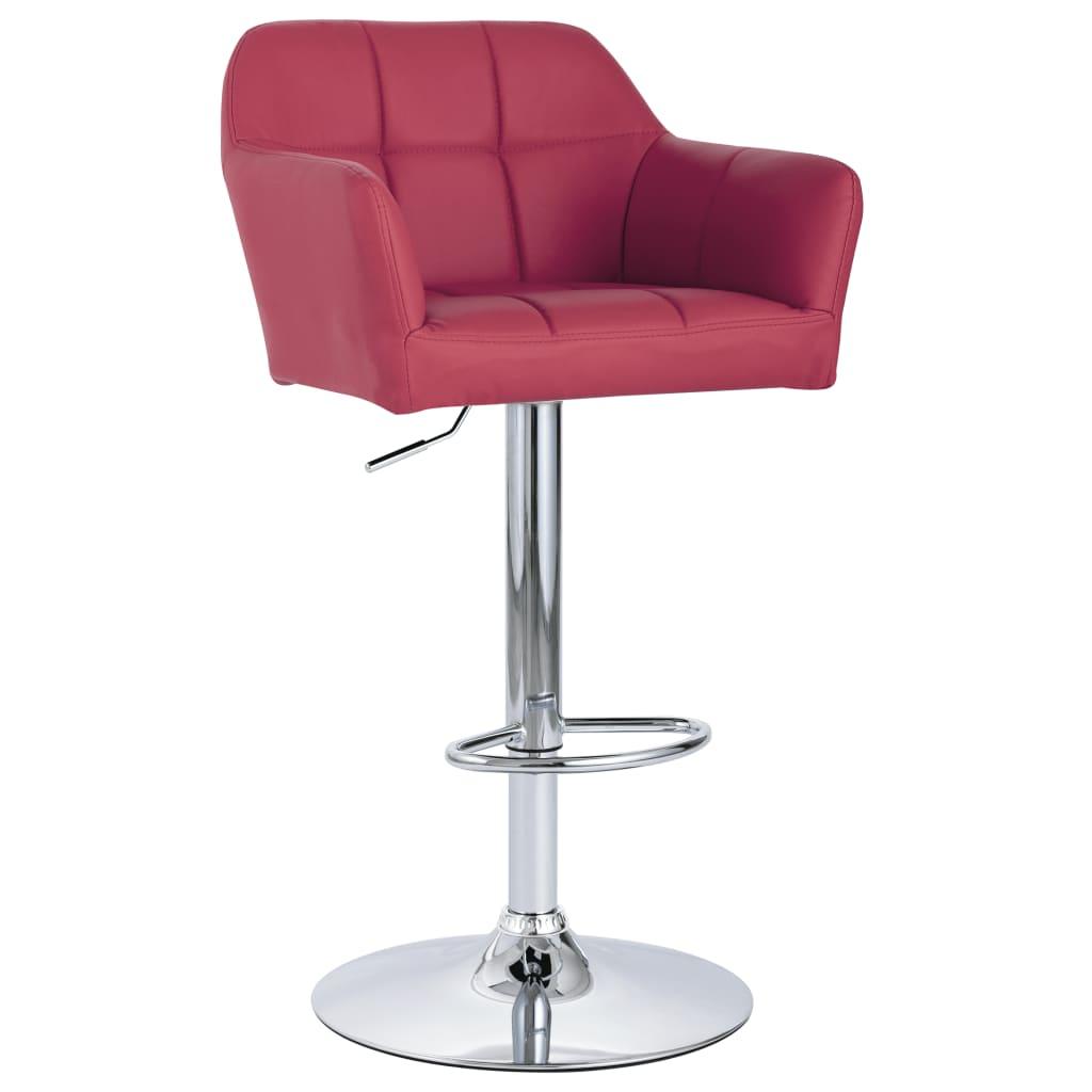 vidaXL Krzesło barowe z podłokietnikami, czerwone wino, sztuczna skóra