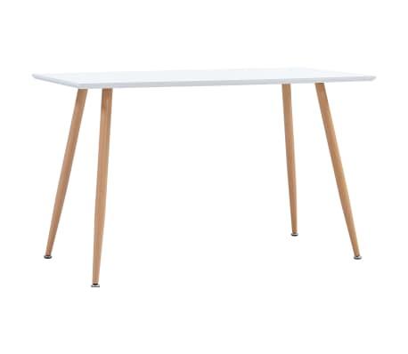vidaXL Table de salle à manger Blanc et chêne 120x60x74 cm MDF