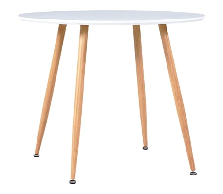 vidaXL Table de salle à manger Blanc et chêne 90x73,5 cm MDF