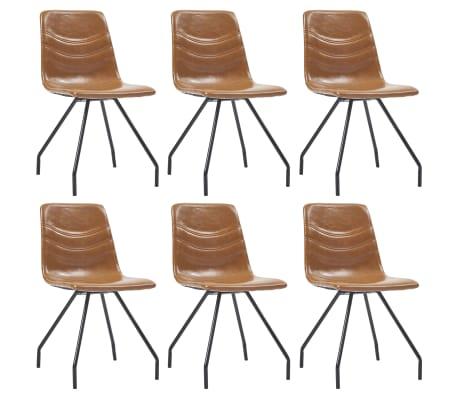 vidaXL Jídelní židle 6 ks koňakové umělá kůže