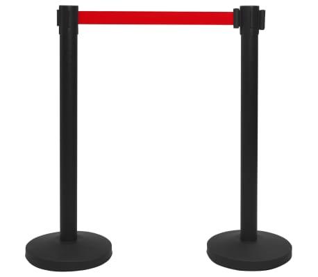 vidaXL Stanchion with Belt Airport Barrier Steel Black
