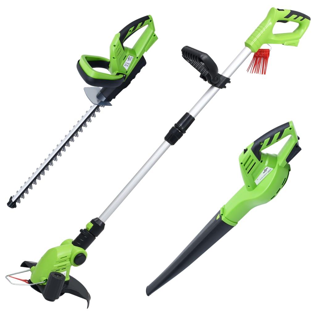 vidaXL Set de unelte electrice fără fir pentru grădină, 3 buc. imagine vidaxl.ro