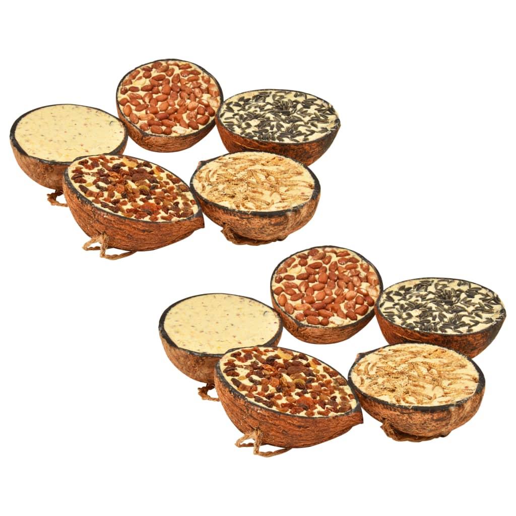 Kokosové půlky plněné krmivem pro ptáky 10 ks 290 g