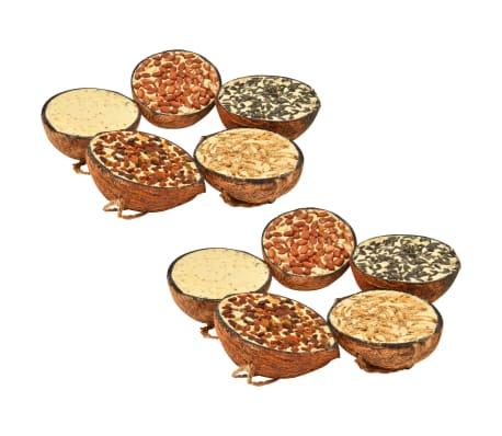 vidaXL Kokosové půlky plněné krmivem pro ptáky 10 ks 290 g