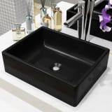 """vidaXL Basin Ceramic Rectangular Black 16.1""""x11.8""""x4.7"""""""