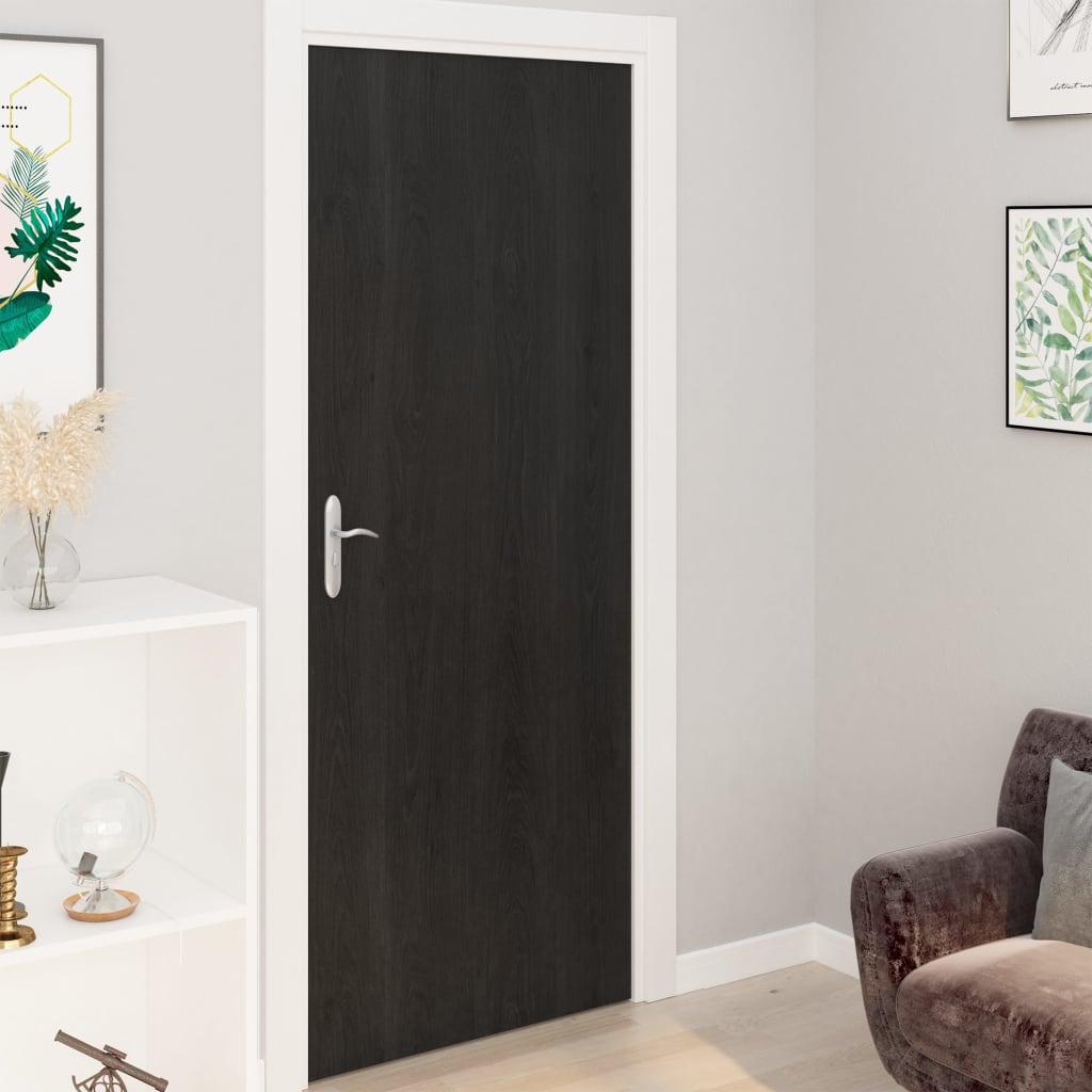 vidaXL Folii de ușă autoadezive, 2 buc., lemn închis, 210 x 90 cm, PVC vidaxl.ro