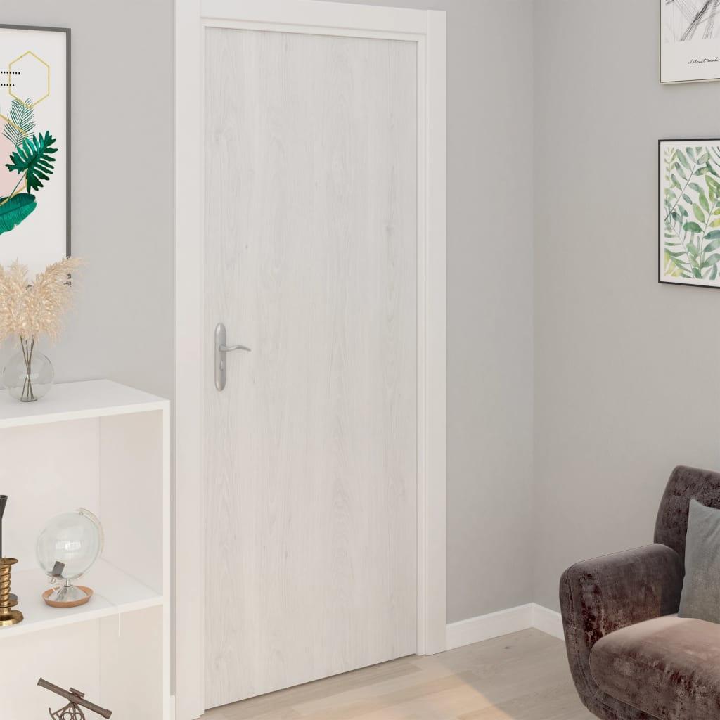 vidaXL Folii de ușă autoadezive, 2 buc., lemn alb, 210 x 90 cm, PVC imagine vidaxl.ro