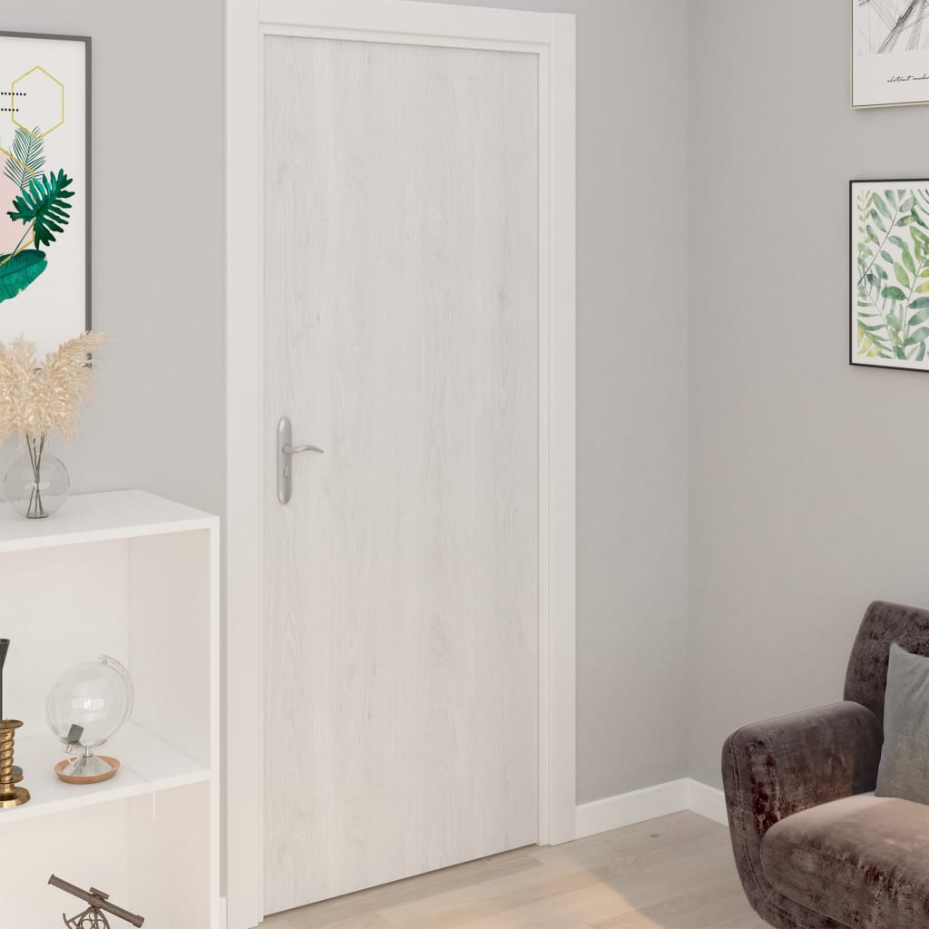 vidaXL Folii de ușă autoadezive, 2 buc., lemn alb, 210 x 90 cm, PVC vidaxl.ro