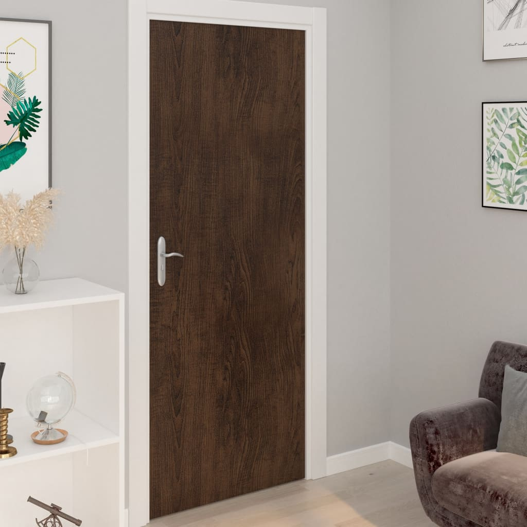 vidaXL Folii de ușă autoadezive, 2 buc., stejar închis, 210x90 cm, PVC vidaxl.ro