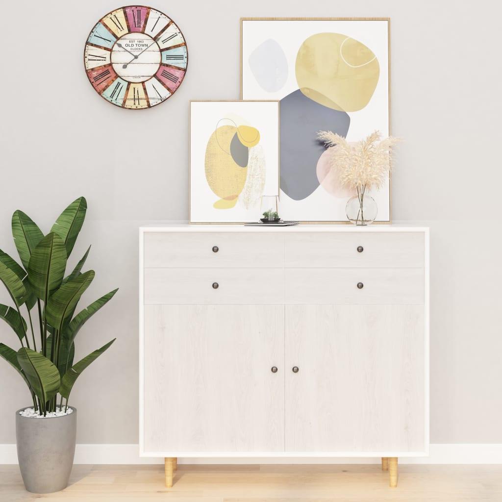vidaXL Folie de mobilier autoadezivă, lemn alb, 500 x 90 cm, PVC imagine vidaxl.ro
