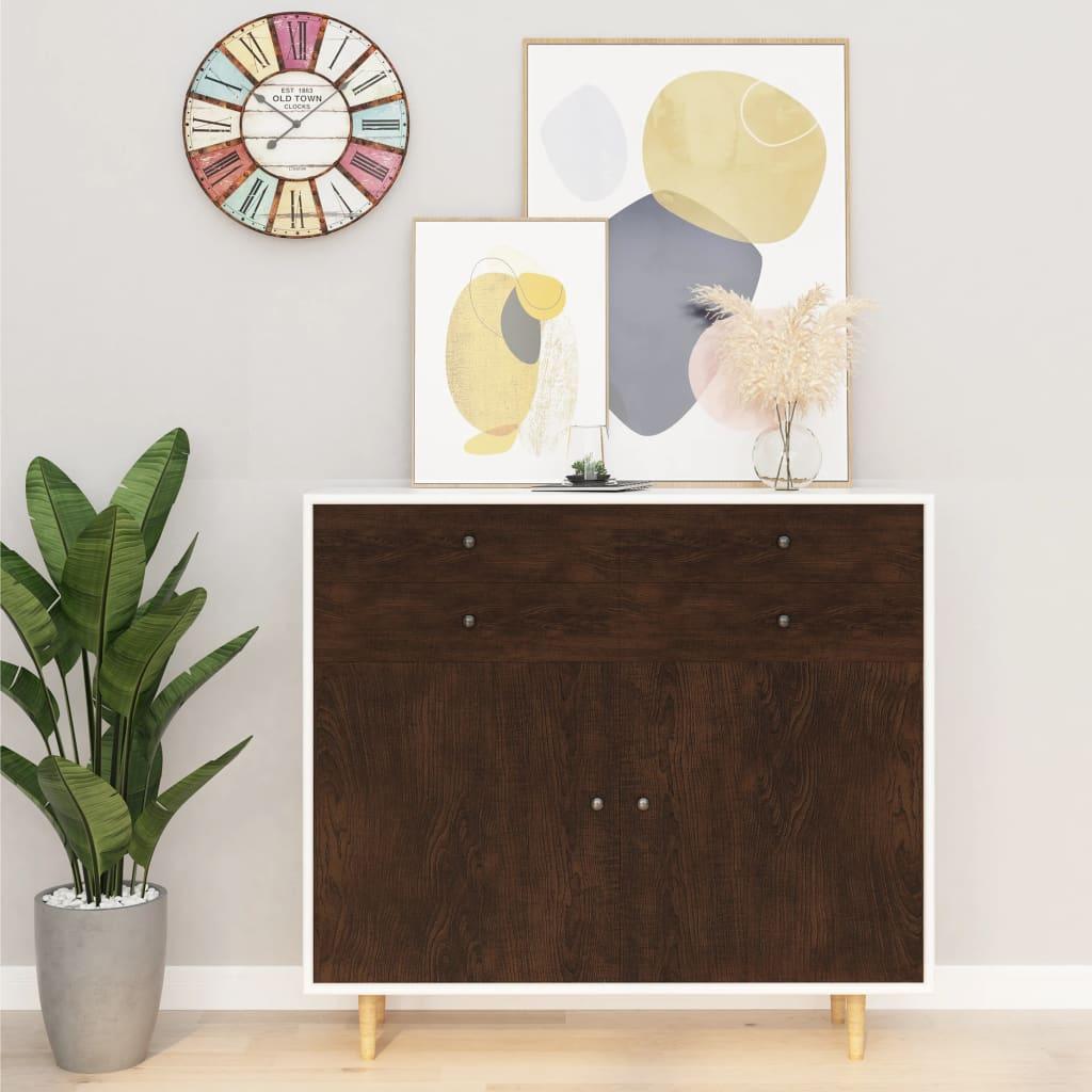 vidaXL Folie de mobilier autoadezivă, stejar închis, 500 x 90 cm, PVC vidaxl.ro