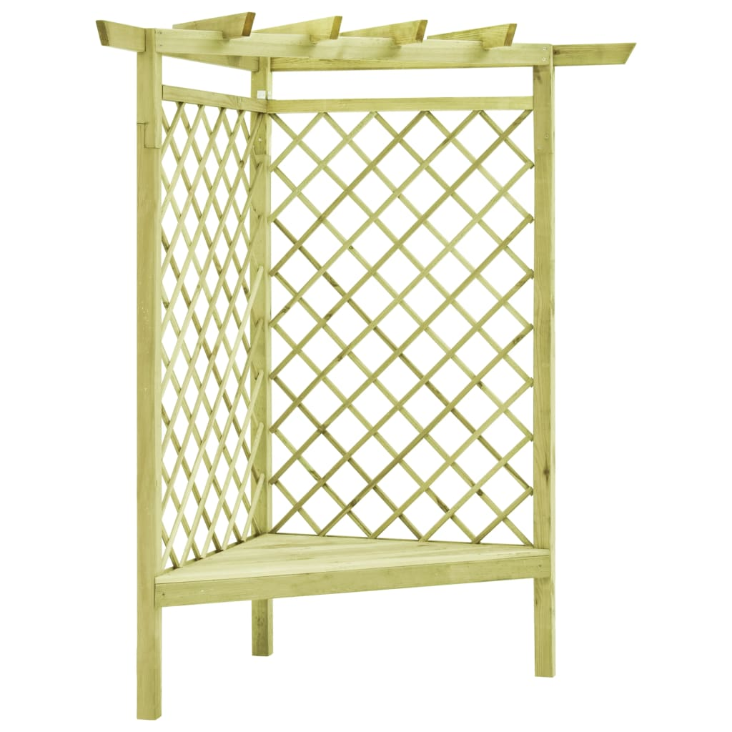vidaXL Pergolă de colț cu banchetă, 130x130x197 cm, lemn de pin tratat vidaxl.ro