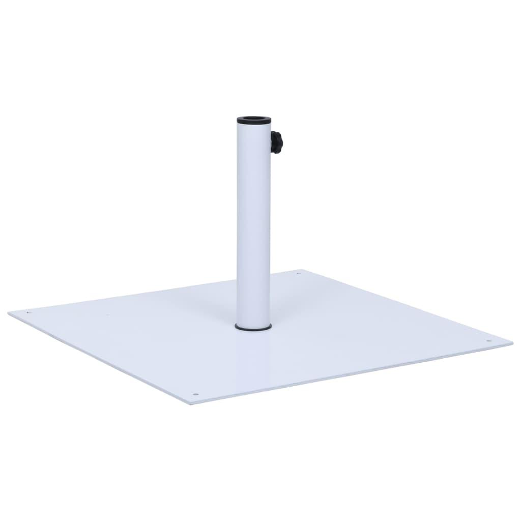 vidaXL Suport de umbrelă de soare, alb, oțel, pătrat, 17 kg imagine vidaxl.ro