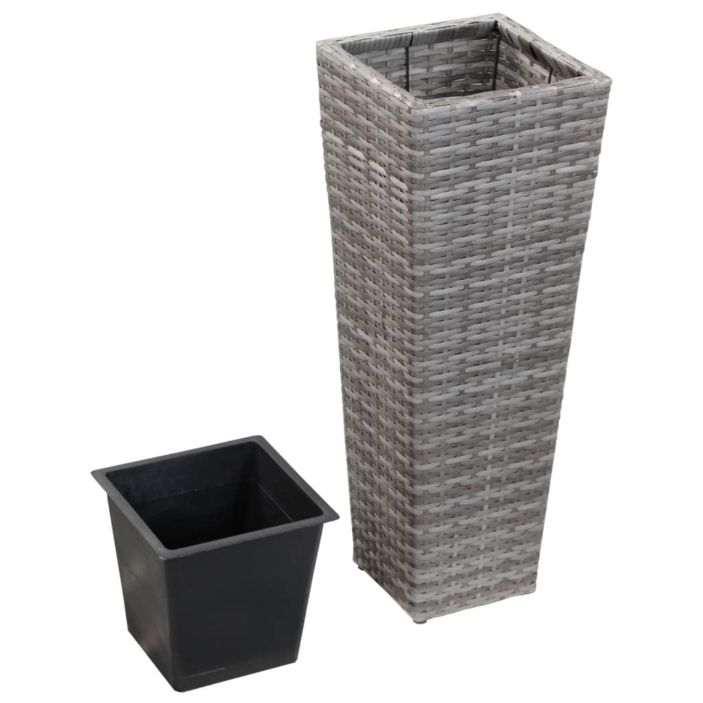 vidaXL Zahradní truhlík 30 x 30 x 80 cm polyratan šedý