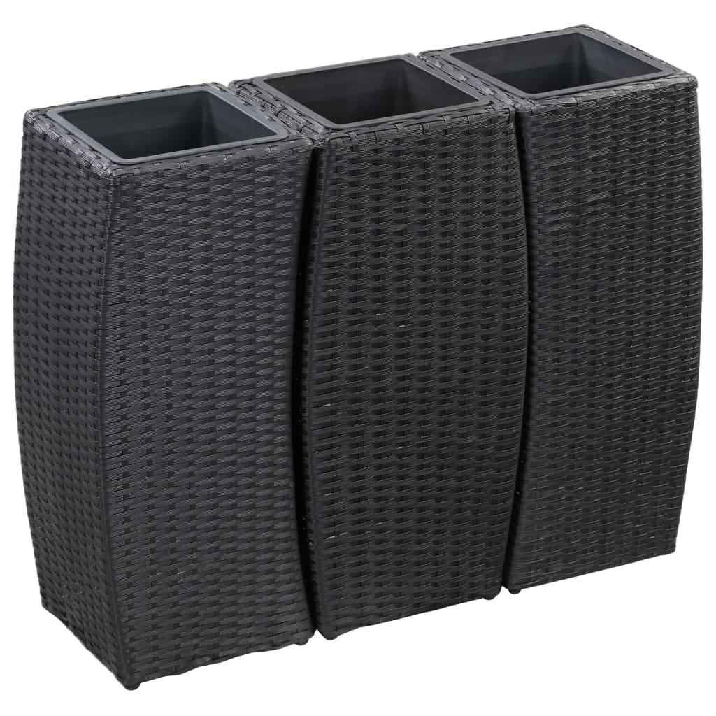 vidaXL Straturi înălțate de grădină, 3 buc., negru, poliratan poza vidaxl.ro
