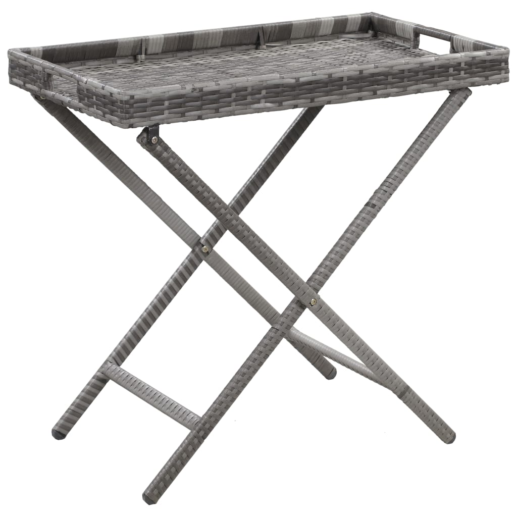 Skládací stůl šedý 80 x 45 x 75 cm polyratan