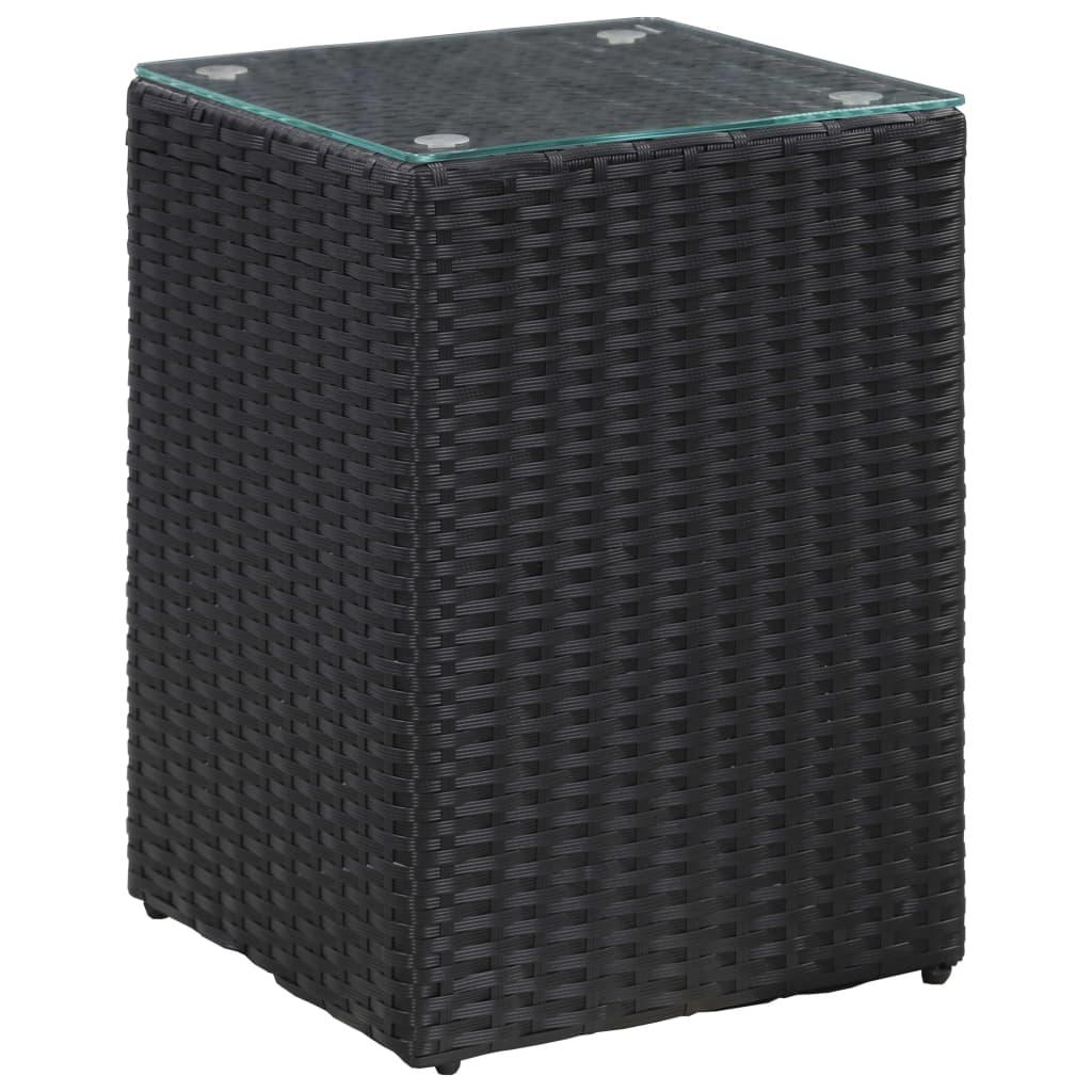 vidaXL Masă laterală cu blat de sticlă, negru, 35x35x52 cm, poliratan poza 2021 vidaXL