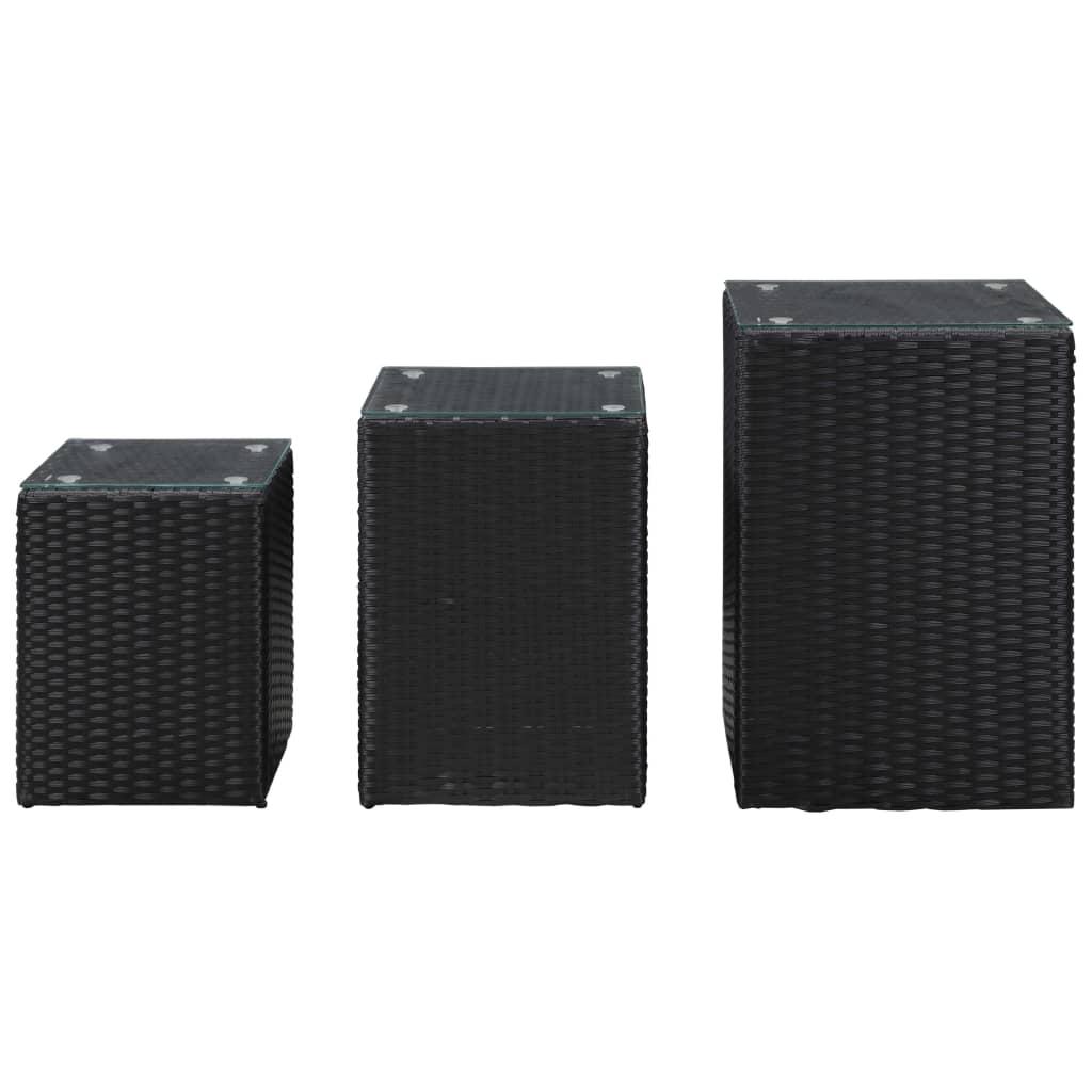 3-delige Bijzettafelset met glazen blad poly rattan zwart