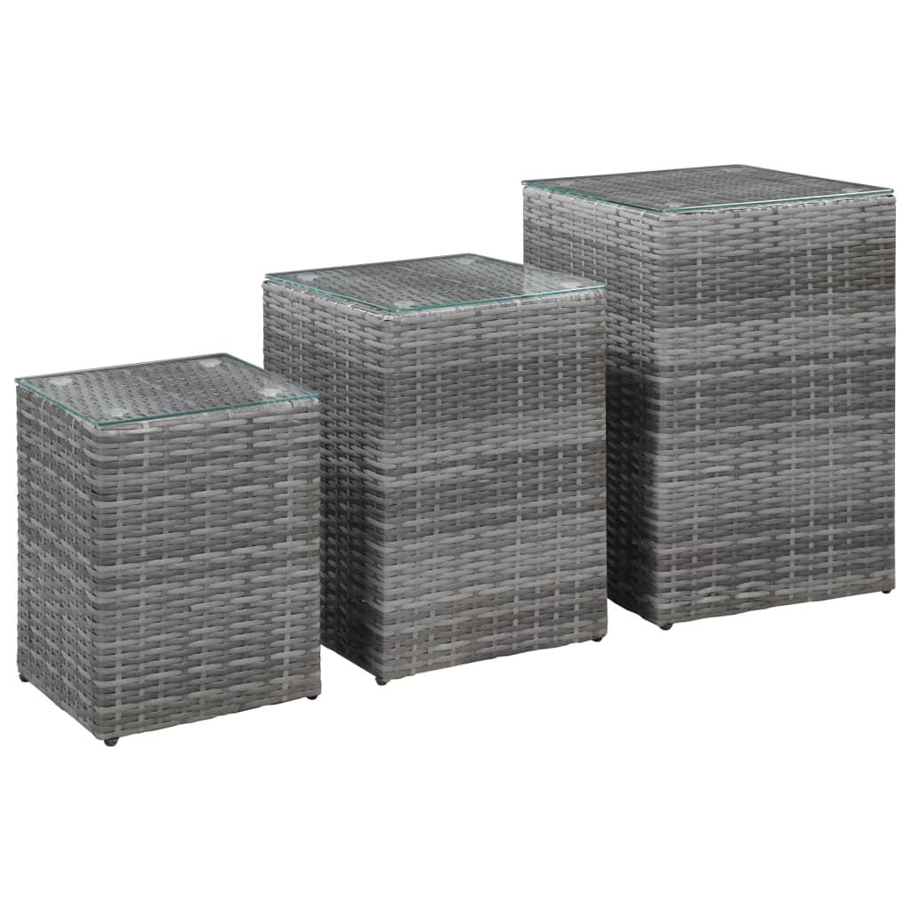 9946985 Beistelltische 3 Stk. mit Glasplatte Grau Poly Rattan