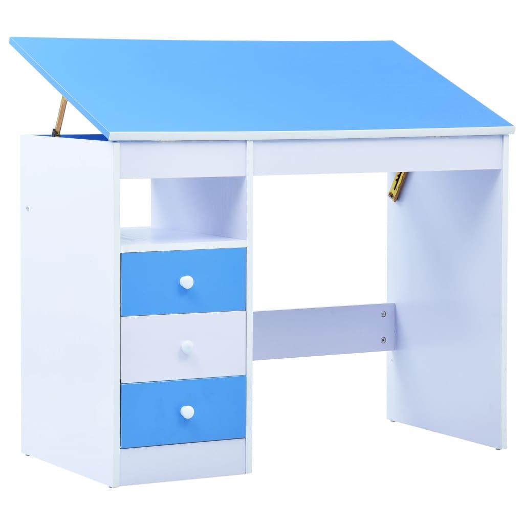 vidaXL Birou de studiu & desenat pentru copii rabatabil albastru & alb poza 2021 vidaXL