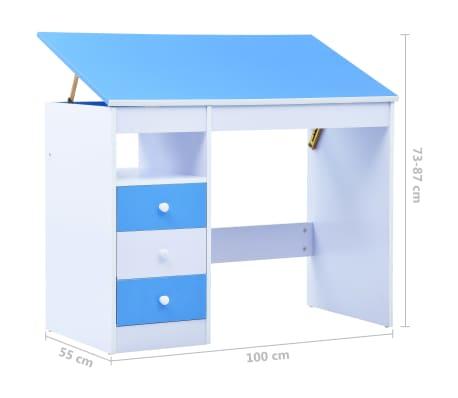 vidaXL Bureau pour enfants Inclinable Bleu et blanc[11/11]