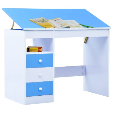 vidaXL Bureau pour enfants Inclinable Bleu et blanc[2/11]