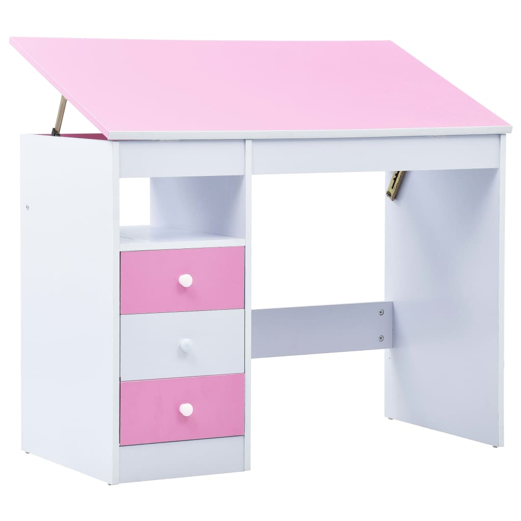 vidaXL Birou de studiu & desenat pentru copii rabatabil, roz și alb poza vidaxl.ro
