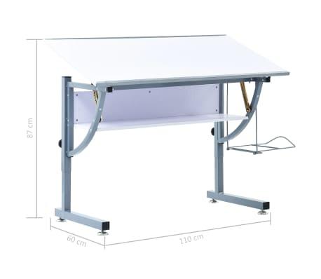 vidaXL Table à dessin pour adolescents Blanc 110x60x87 cm MDF[12/12]