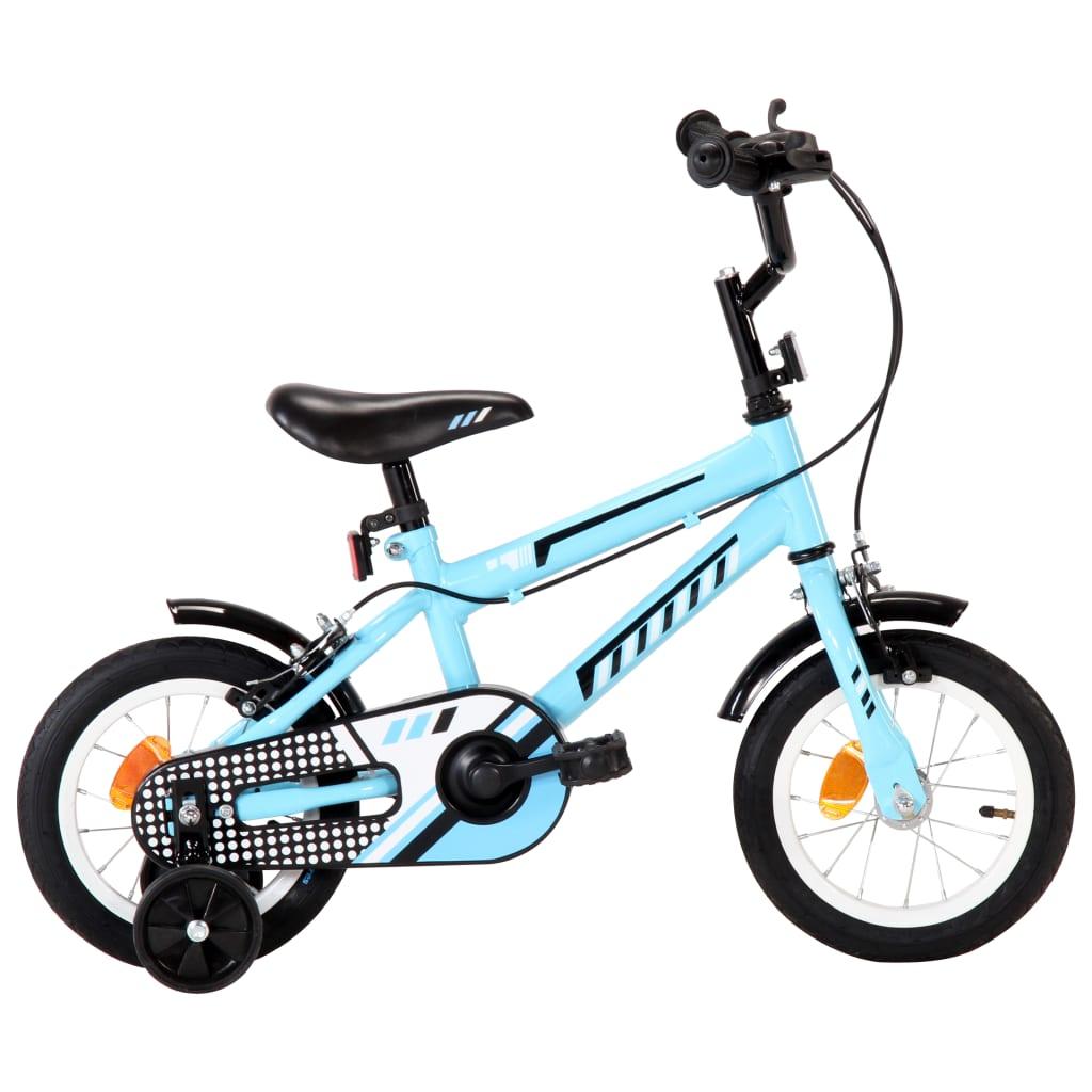 vidaXL Kinderfiets 12 inch zwart en blauw