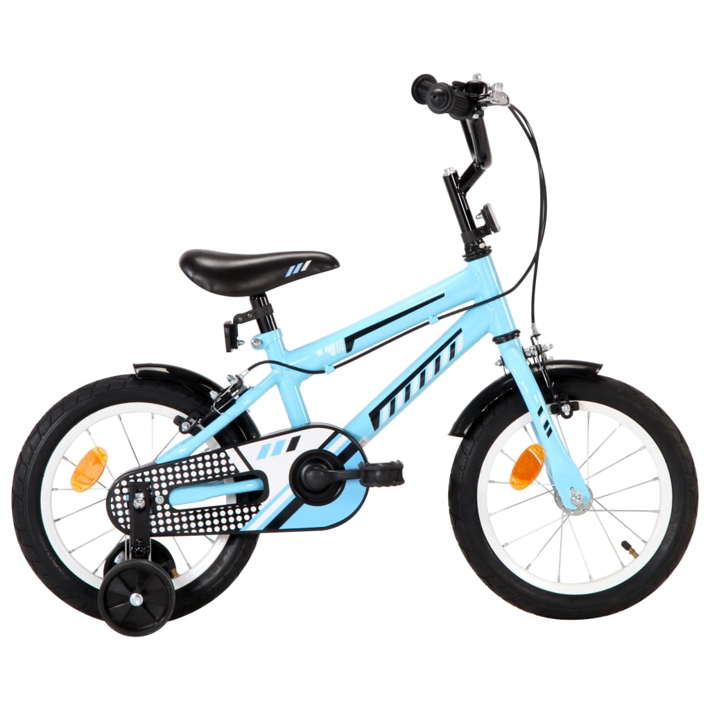 vidaXL Kinderfiets 14 inch zwart en blauw