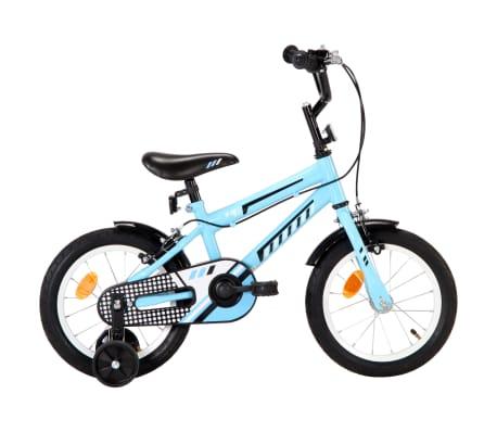 vidaXL Bicicletă pentru copii, negru și albastru, 14 inci