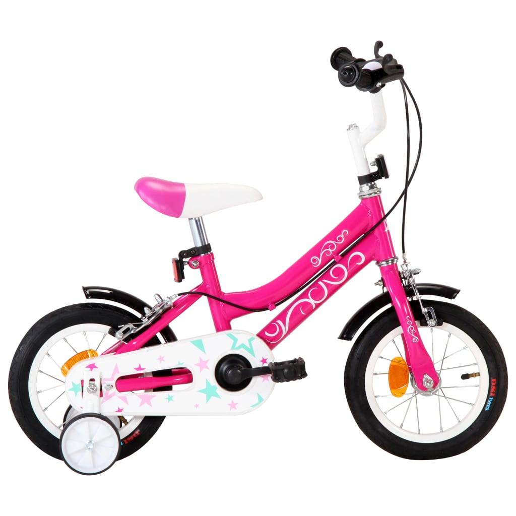 vidaXL Dětské kolo 12'' černo-růžové
