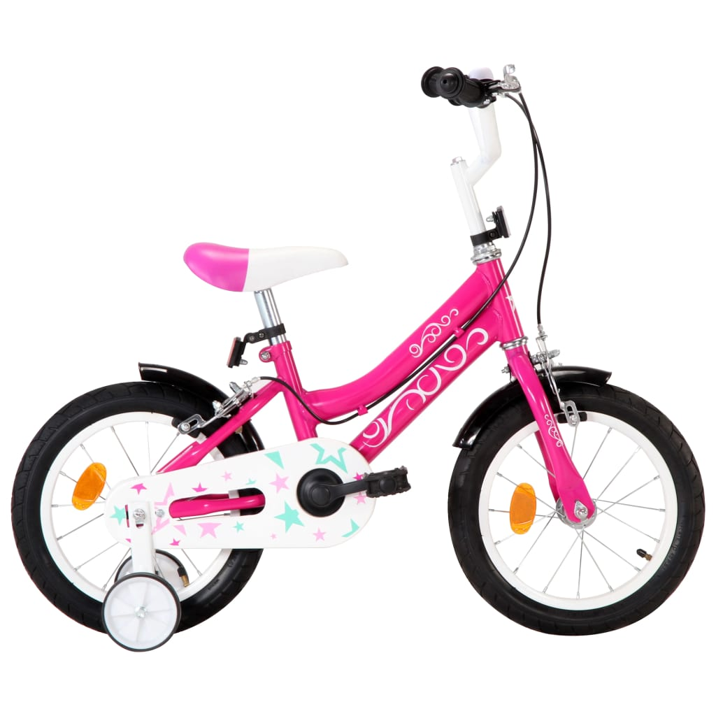 vidaXL Kinderfiets 14 inch zwart en roze