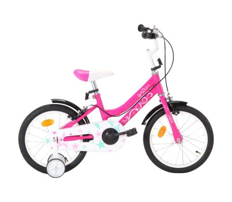 vidaXL Kinderfiets 16 inch zwart en roze