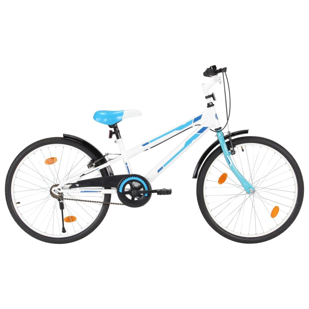 vidaXL Bicicletă pentru copii, albastru și alb, 24 inci imagine vidaxl.ro